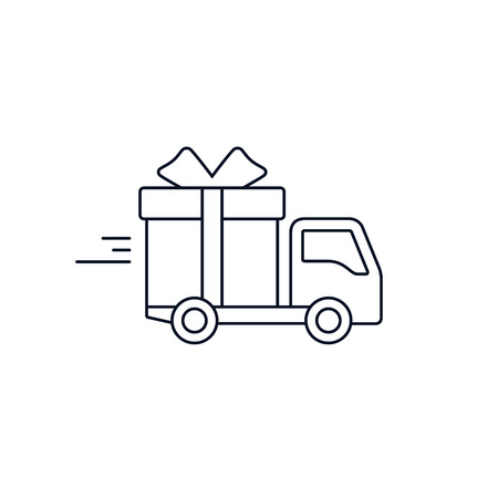 Delivery truck with gift box. Free Delivery concept, stroke flat style illustration isolated on white background.