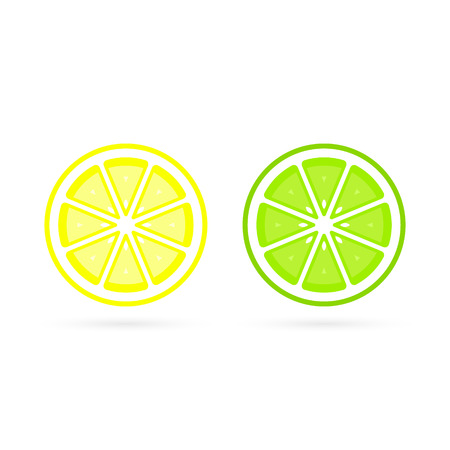 Lemon and Lime slice vector icon illustration on white background. Fresh sour vector lemon icon.