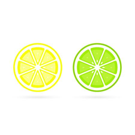 Lemon and Lime slice vector icon illustration on white background. Fresh sour vector lemon icon. 写真素材 - 122662526