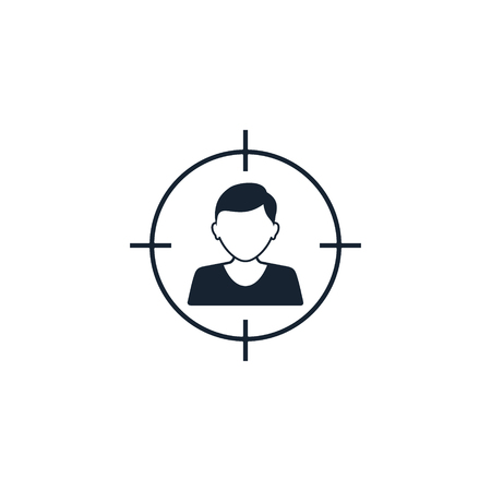 Man Target vector icon. Man head with aim target symbol around. Ilustracja