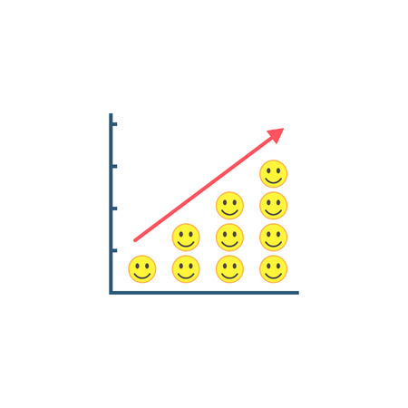 Positive Mood Growth graph, Smiley on graph success concept, Happy growing trend vector pictograph.