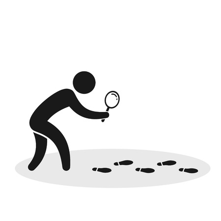 Detective investigate is following footprints. Vector flat illustration.
