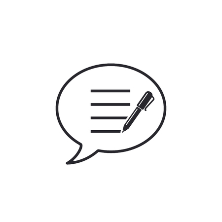 Speech Bubble and pen icon, Add or create new message, Vector illustration.
