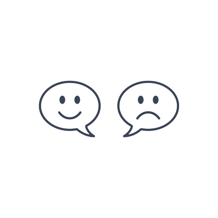 Speech bubble smile face, Chat icon, happy chatting message, smiley graphic design single icon vector.