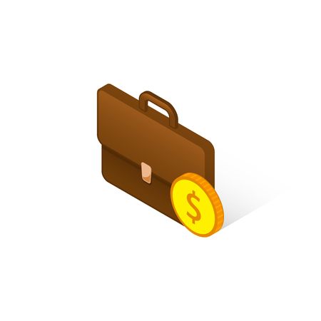 Briefcase with coin isometric icon, vector isolated 3d illustration, business concept.