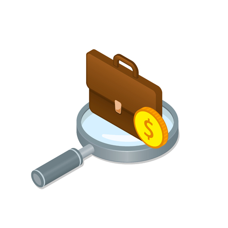 Magnifier and briefcase isometric illustration, Recruitment, human resources and job seeking concept. Vector Business staff hiring icon.