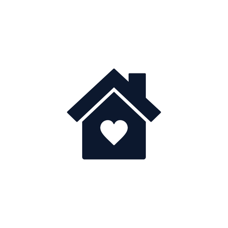Home love heart icon, house withing heart shape, flat design vector.