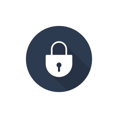 Lock icon with round grey background, Padlock Vector illustration. 写真素材 - 122868646