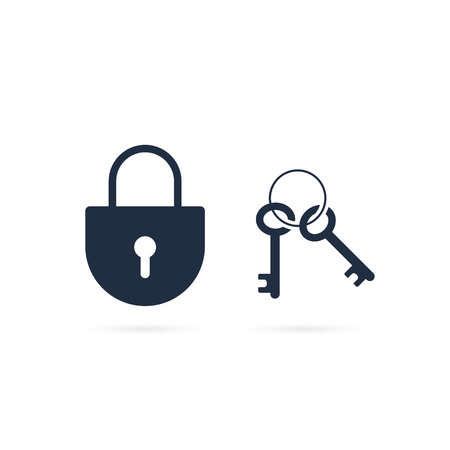Lock and key vector icon. Isolated illustration.