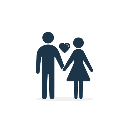 Couple icon with heart. Vector isolated illustration.  イラスト・ベクター素材