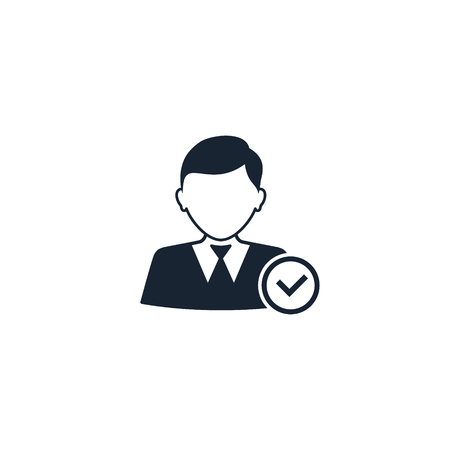Businessman with check mark icon, Vector isolated illustration.