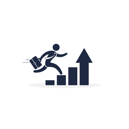 Running businessman on successful diagram vector icon isolated illustration.
