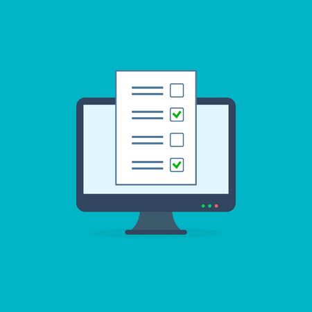Online form survey, monitor with exam paper sheet document icon, on-line questionnaire results, check list or internet test. Vector illustration. 写真素材 - 122868652