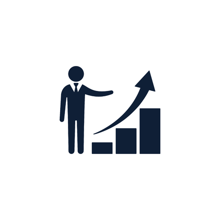 Businessmen with business growth graph icon, vector isolated illustration.