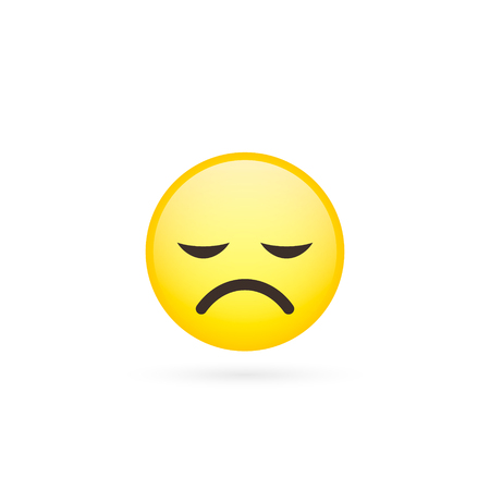 Indifferent cute emoticon, smiley, emoji - vector isolated illustration.