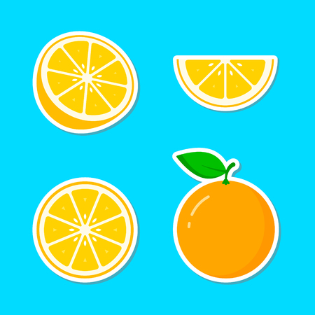 Orange fruit Sticker icon collection, vector colorful set, cut of orange.