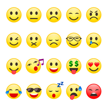 Emoji Smiley set. Emoticon cartoon emojis symbol chat objects vector icons set. 写真素材 - 122868656