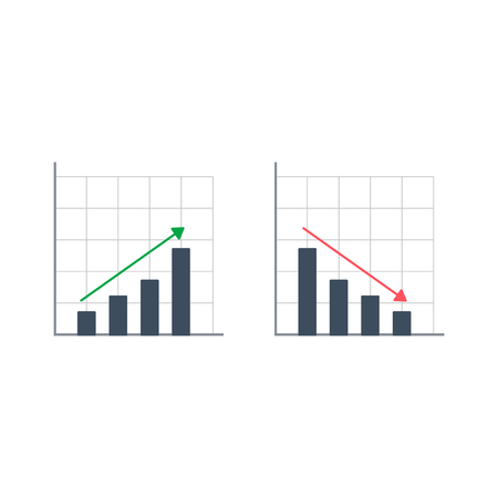 Graph Icon set in trendy flat style isolated on white background. Vector success illustration.  イラスト・ベクター素材