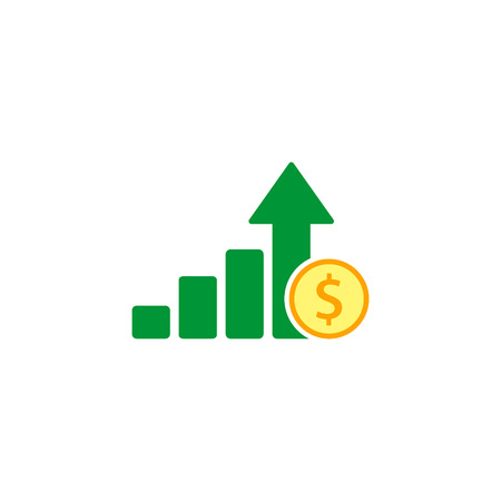 Growth money graph icon, vector isolated illustration. Ilustracja