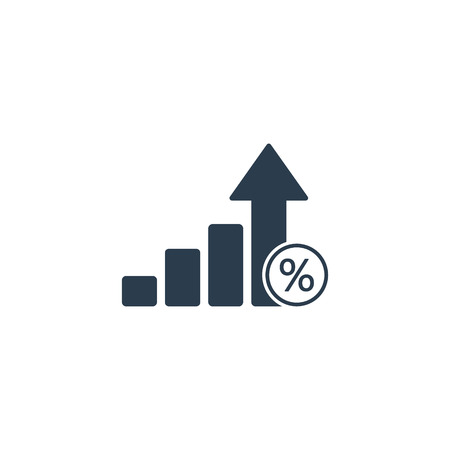 Loan percent growth chart icon. Discount sign. Credit percentage symbol. Vector illustration.