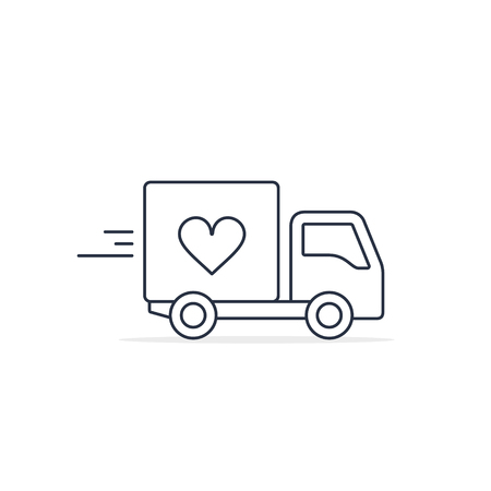 Delivery Truck with heart Charity Donation icon. Charity truck simple vector concept.