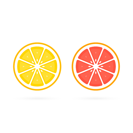 Orange and Grapefruit cut fruit icon collection, vector colorful set.