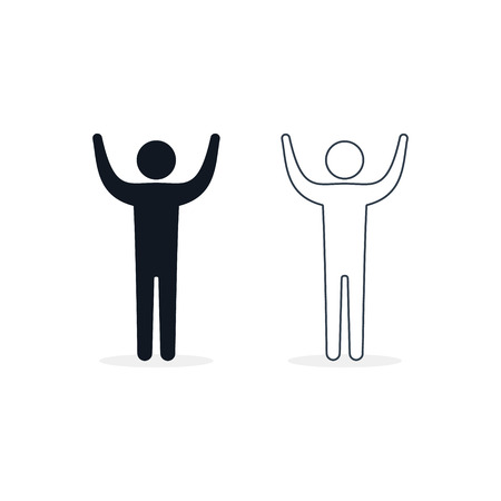 Man raised two hands icon, vector isolated illustration.