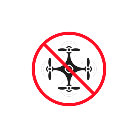 No drone zone sign. No drone icon vector. Flights with drone prohibited. Ilustracja