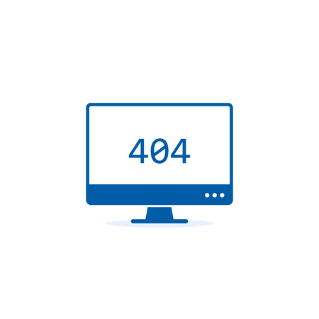 404 error or not found Icon. Pc with 404 mistake illustration on white Background.  イラスト・ベクター素材