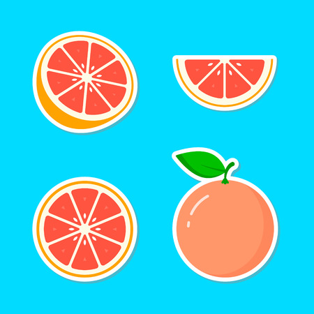 Grapefruit fruit Sticker icon collection, vector colorful set, cut of grapefruit.  イラスト・ベクター素材