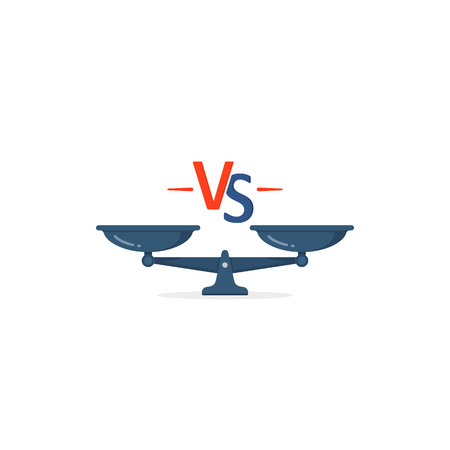 Versus symbol with scales icon concept, Vector isolated VS illustration.