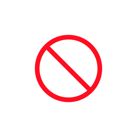No sign vector stop sign icon. Simple red warning isolated symbol. Ilustração