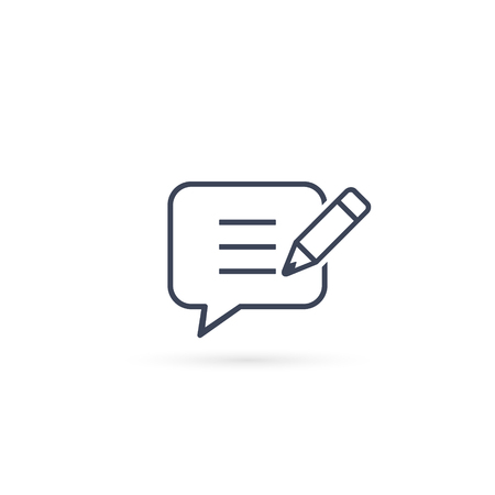 Speech Bubble and pen icon, Add or create new message, Vector line illustration.