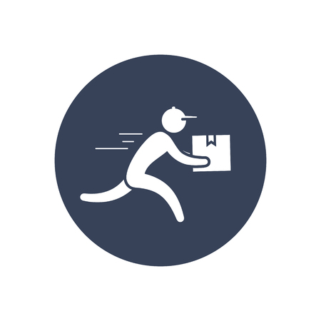 Delivery man icon Vector, Courier symbol illustration in circle.  イラスト・ベクター素材