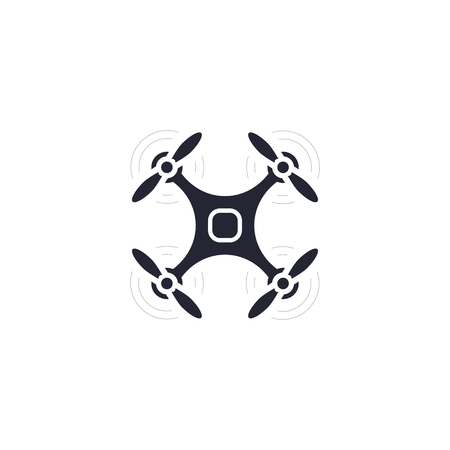 Quadcopter simple icon, drone illustration on white background. Vector illustration.