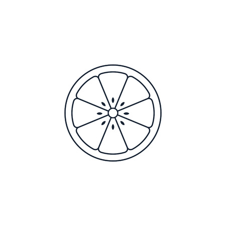 Slice of lemon,orange, grapefruit or lime fruit - line icon, Vector.