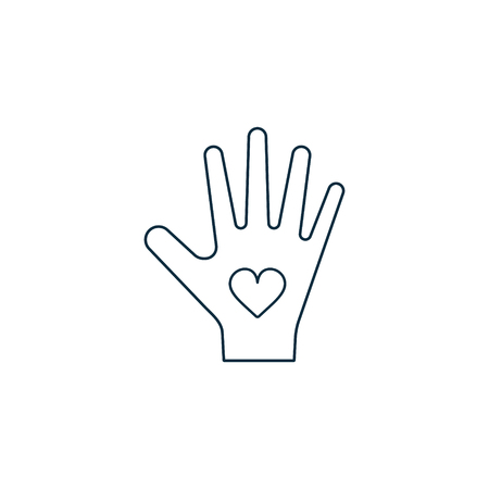 Hand with heart icon, vector line logo illustration. Charity Donation concept. 写真素材 - 122662601