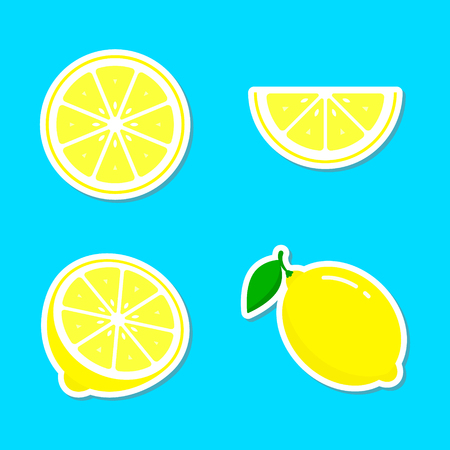 Lemon fruit sticker set, colorful icon collection vector illustration.