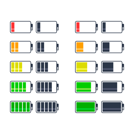 Battery charge indicator icons set, vector isolated graphic design.