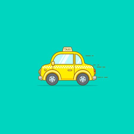 Taxi car flat design illustration isolated on green background. Vector image.