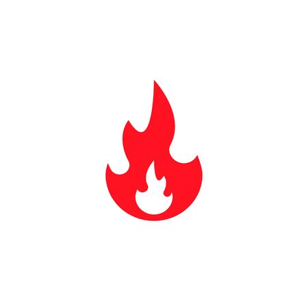 Fire flame icon, vector isolated fire red flat symbol.