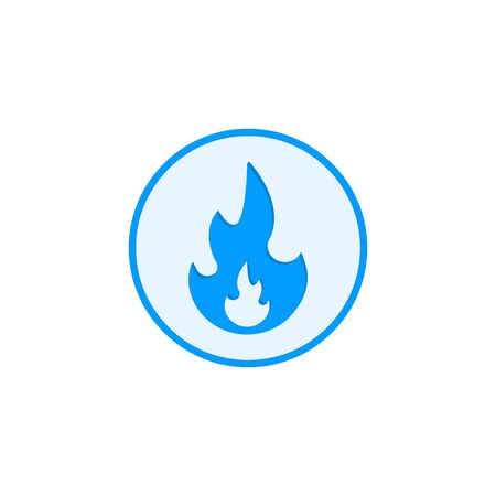 Gas flame vector icon isolated on round background. Sign blue Button burning natural gas in the flat style.