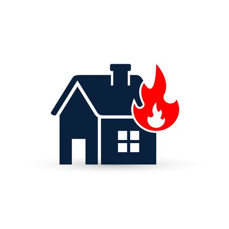 House on Fire, Preventing Fire. Fire Alarm, Vector isolated illustration. 写真素材 - 127895417