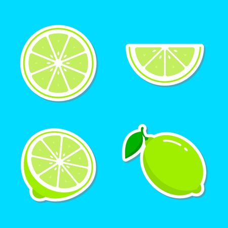 Lime fruit sticker set, lemon colorful icon collection vector illustration. 写真素材 - 127895420