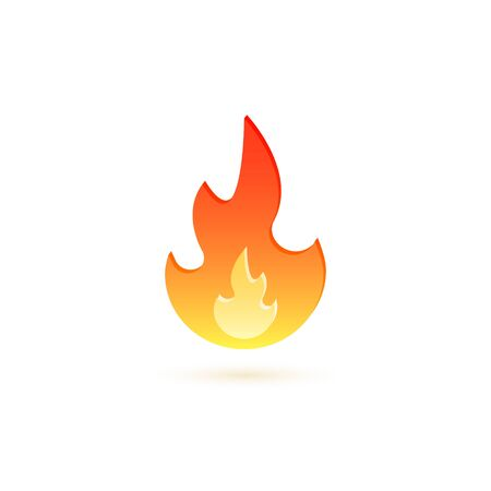 Fire flame icon, vector cartoon isolated fire flat symbol.