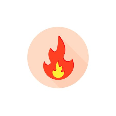 Fire flame icon, vector isolated fire flat symbol on round. Stock Illustratie
