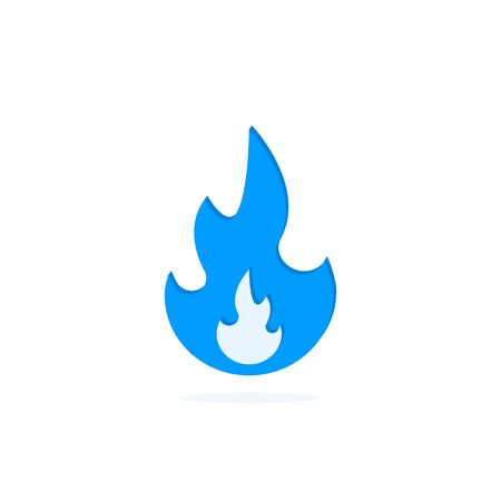 Gas flame vector icon isolated on white background. Sign blue burning natural gas in the flat style.  イラスト・ベクター素材