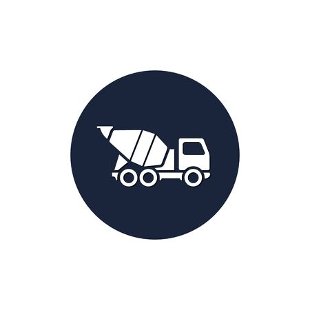 Concrete mixer icon in circle, vector isolated simple build mixer truck symbol.