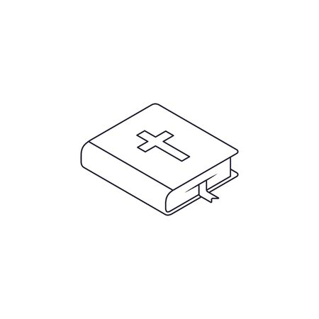 Bible line icon Isometric vector flat design isolated on white.