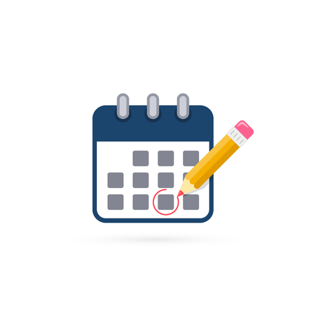 Calendar with pencil mark of Important event. Flat style concept for web vector illustration. Organizer. 写真素材 - 127895427